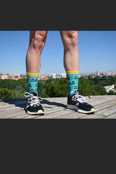 Calcetines Running SockandRoll moustache green delante