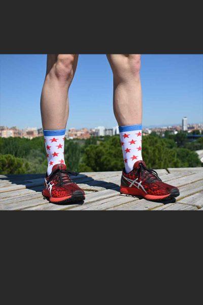 Calcetines Running Sock&Roll stars white delante